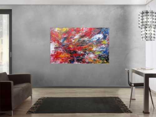 Abstraktes Acryl Gemälde bunt modern viele Farben