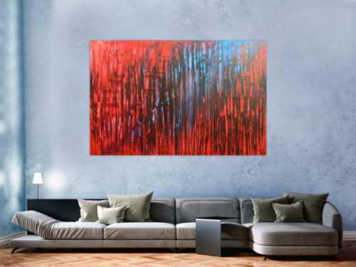 Abstraktes Acrylbild mit rot und blau sehr modern