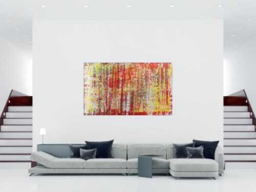 Schönes abstraktes Acrylgemälde in rot weiß und gelb