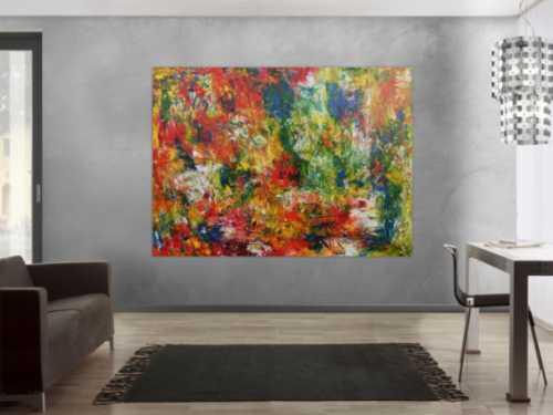 Sehr buntes abstraktes Gemälde mit vielen Farben modern und farbenfroh