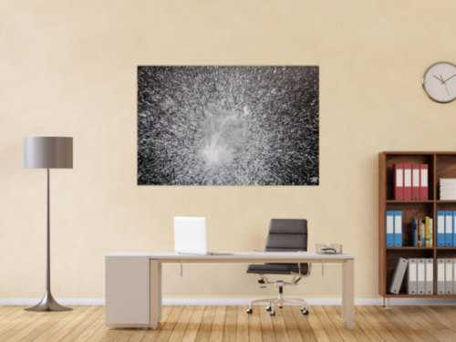 Abstraktes Acrylgemälde in schwarz weiß spash style