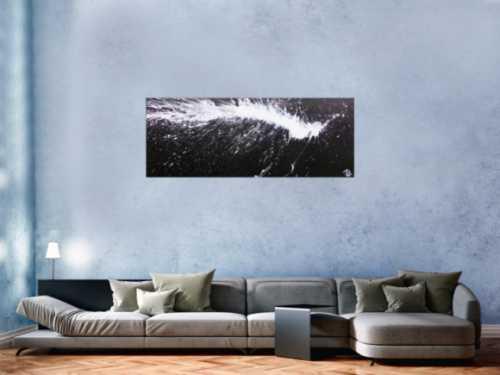 Abstraktes Acrylbild in schwarz weiß modern und minimalistisch