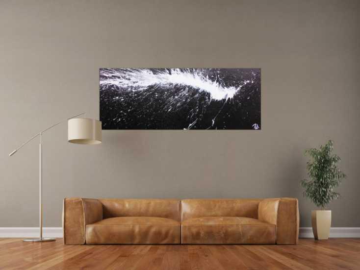 abstraktes acrylbild in schwarz wei modern und minimalistisch auf leinwand 60x150cm. Black Bedroom Furniture Sets. Home Design Ideas