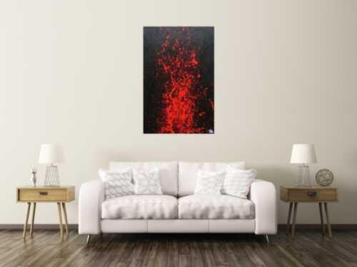 Minimalistisches Gemälde in schwarz und rot abstakt und modern