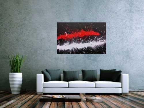 Abstraktes Acrylbild minimalistisch und modern in schwarz weiß rot