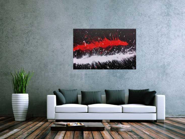 Abstraktes Acrylbild minimalistisch und modern in schwarz ...