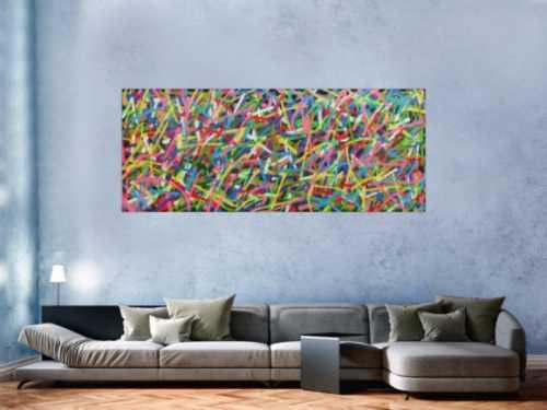 Sehr buntes abstraktes Gemälde Spray Art Kunst aus Spraydosen
