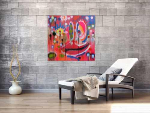 Abstraktes Acrylbild Gesicht mondern bunt Spray Art Kunst aus Spraydosen