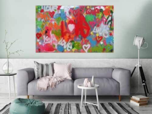 Modernes abstraktes Acrylbild LOVE Spray Art Kunst aus Spraydosen