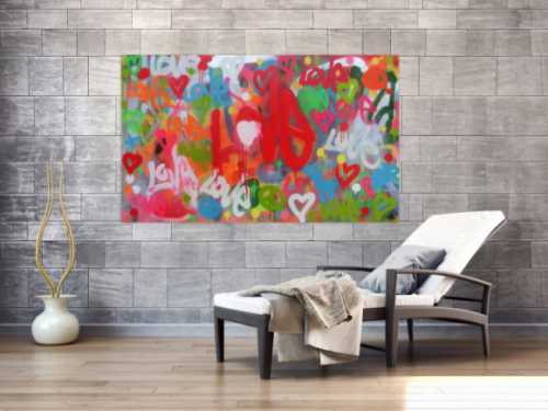 Modernes abstraktes Acrylbild LOVE Spray Art Kunst aus Spraydosen