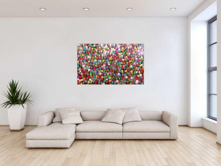 #474 Modernes Gemälde aus Spraydosen bunte Punkte schlcht abstrakt 80x130cm von Alex Zerr