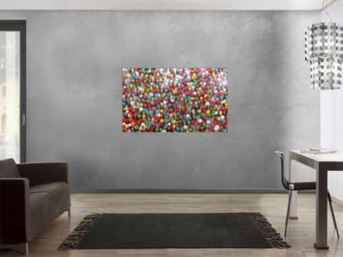 Modernes Gemälde aus Spraydosen bunte Punkte schlcht abstrakt