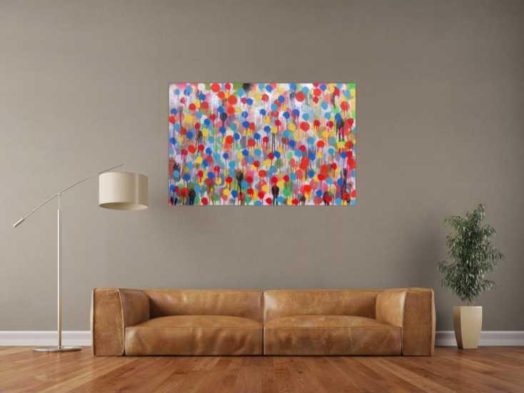 #475 Modernes Kunstwerk abstrakt mit vielen Farben bunte Punkte aus ... 80x120cm von Alex Zerr