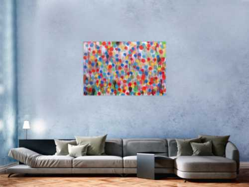 Modernes Kunstwerk abstrakt mit vielen Farben bunte Punkte aus Spraydose