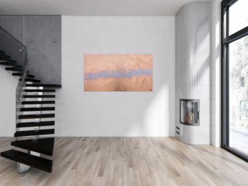 Modernes abstraktes Acrlbild in gold und silber schlicht und minimalistisch