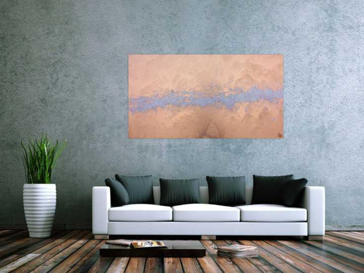 #476 Modernes abstraktes Acrlbild in gold und silber schlicht und ... 80x150cm von Alex Zerr