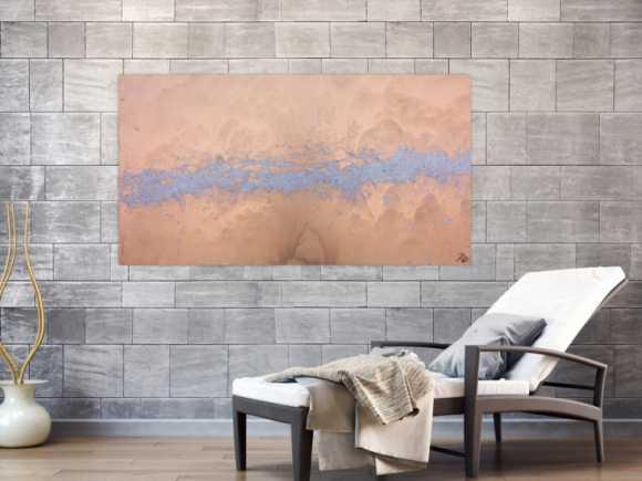 Modernes abstraktes Acrlbild in gold und silber schlicht und ... 80x150cm