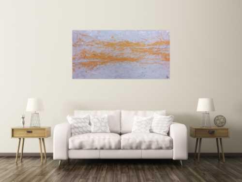 Abstraktes Acrylbild in silber und gold schlicht und minimalistisch