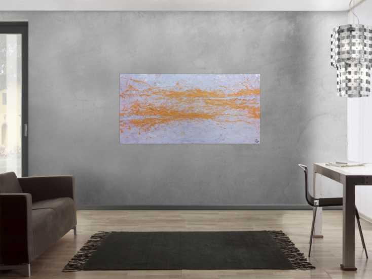 #477 Abstraktes Acrylbild in silber und gold schlicht und minimalistisch 80x160cm von Alex Zerr