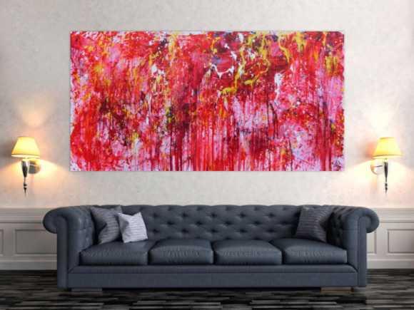 Modernes abstraktes Acrylgemälde in rot einzigartig und speziell