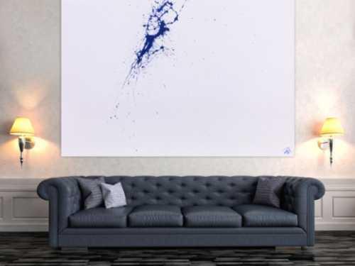 Minimalistisches Acrylbild Splash Art in weiß und blau