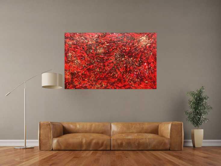 #483 Modernes abstraktes Acrylbild in rot und gold 100x140cm von Alex Zerr