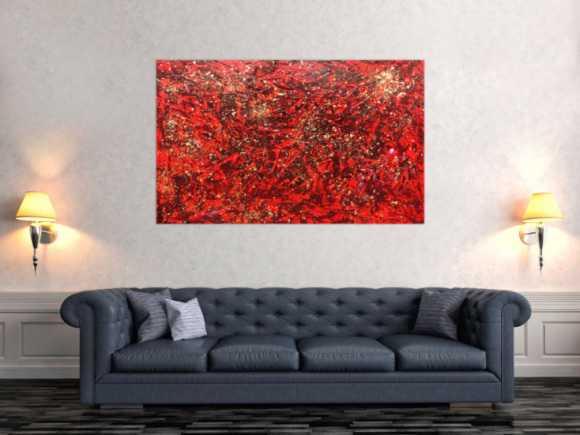 Modernes abstraktes Acrylbild in rot und gold