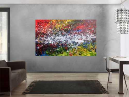 Buntes abstraktes Acrylgemälde modern mit vielen Farben