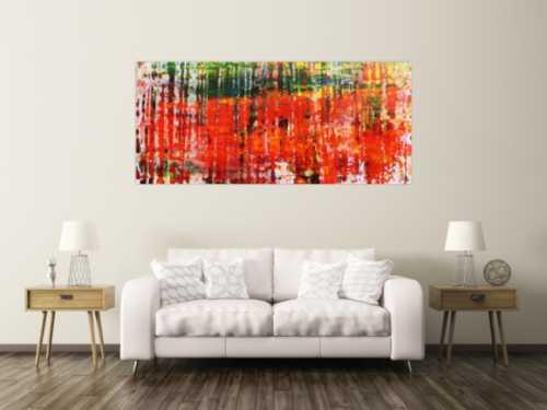 Modernes Acrylgemälde mit vielen Farben abstrakt mit Spachteltechnik