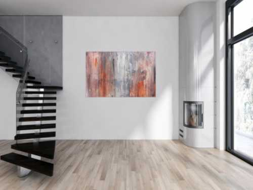 Modernes abstraktes Leinwandbild in grau und orange