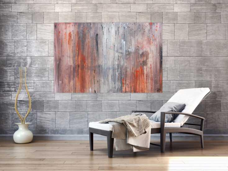 Modernes abstraktes leinwandbild in grau und orange auf leinwand 100x150cm - Leinwandbild grau ...