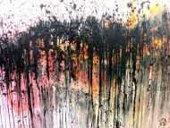 Detailaufnahme Abstraktes Acrylbild sehr modern in rosa weiß schwarz und orange