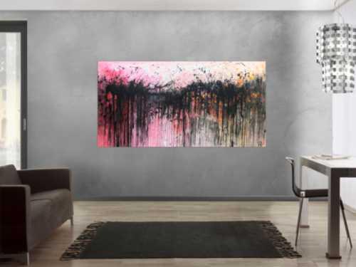 Abstraktes Acrylbild sehr modern in rosa weiß schwarz und orange
