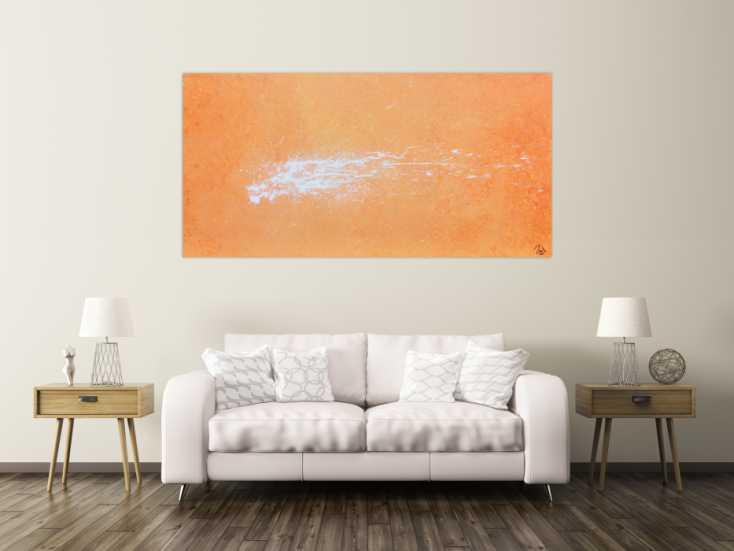 #491 Abstraktes Acrylbild Splashstyle in orange und weiß 100x200cm von Alex Zerr