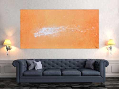 Abstraktes Acrylbild Splashstyle in orange und weiß