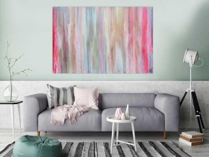 helles und abstraktes acrylbild mit vielen pastell farben auf leinwand 100x150cm. Black Bedroom Furniture Sets. Home Design Ideas