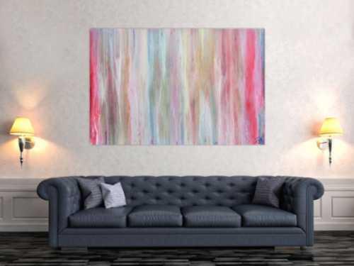 Helles und abstraktes Acrylbild mit vielen pastell Farben