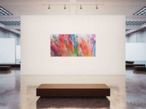 Modernes abstraktes Acrylgemälde mit vielen bunten hellen Farben