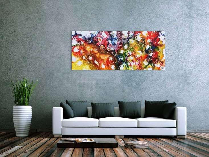 farbenfrohes abstraktes acrylgem lde sehr bunt und modern und freundlich handgemalt auf leinwand. Black Bedroom Furniture Sets. Home Design Ideas