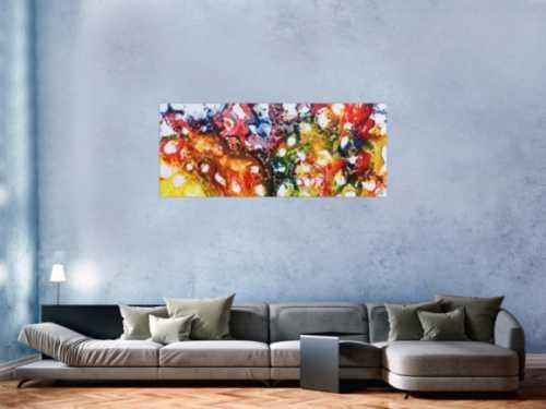 Farbenfrohes abstraktes Acrylgemälde sehr bunt und modern und freundlich