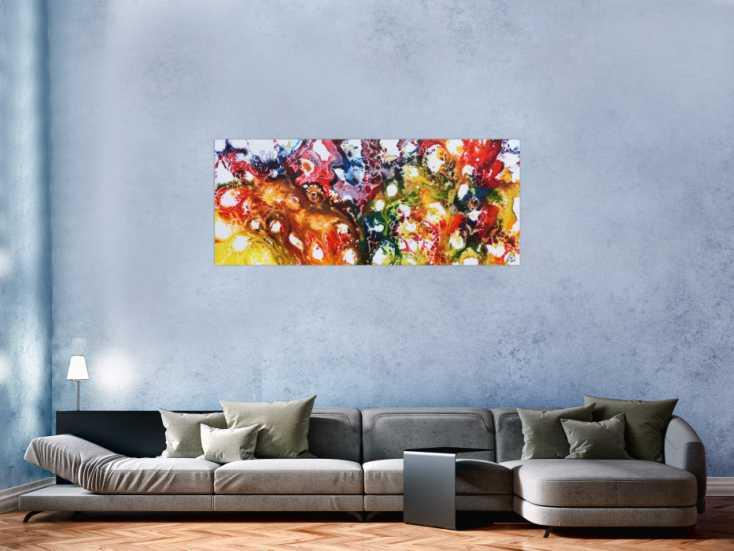 #497 Farbenfrohes abstraktes Acrylgemälde sehr bunt und modern und ... 60x150cm von Alex Zerr