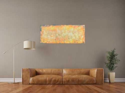 Abstraktes Acrylbild in orange gelb und weiß