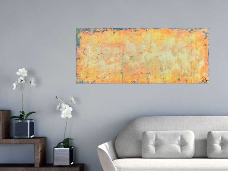 #498 Abstraktes Acrylbild in orange gelb und weiß 50x120cm von Alex Zerr