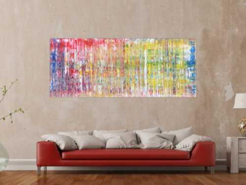 Modernes abstraktes Acrylgemälde mit vielen Farben in Spachteltechnik