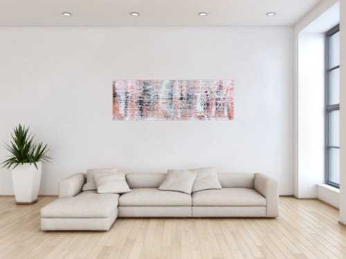 Modernes abstraktes Acrylgemälde in hellen orange Tönen
