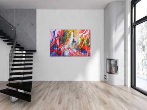 Abstraktes Acrylbild sehr bunt modern und groß