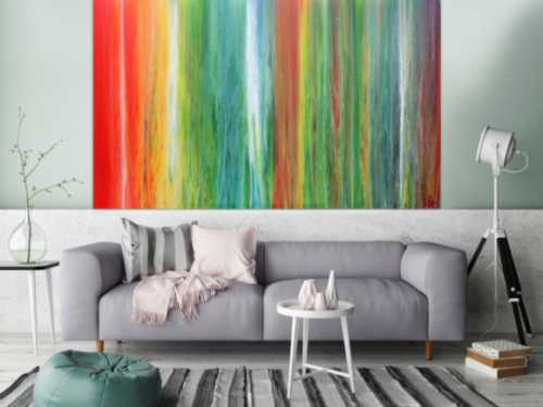 Einzigartiges und abstraktes Acrylbild aus vielen Farben sehr bunt und modern