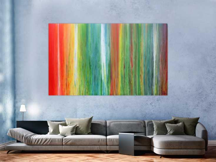 einzigartiges und abstraktes acrylbild aus vielen farben. Black Bedroom Furniture Sets. Home Design Ideas