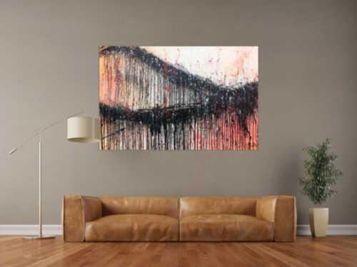 Modernes Acrylbild abstrakt mit schwarz und orange