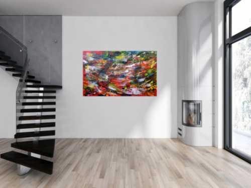 Sehr modernes abstraktes Acrylbild bunt mit vielen Farben